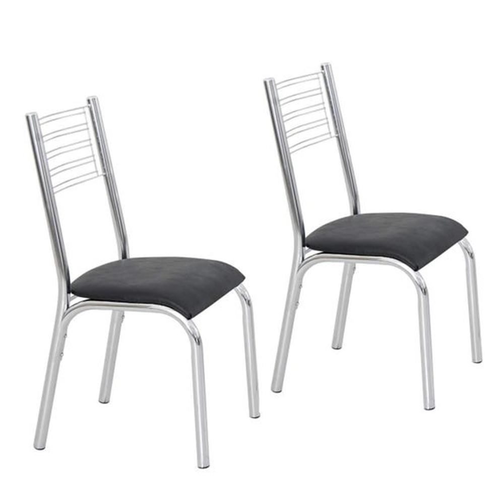Conjunto Com 2 Cadeiras De Aço Camila Cromado/Preto