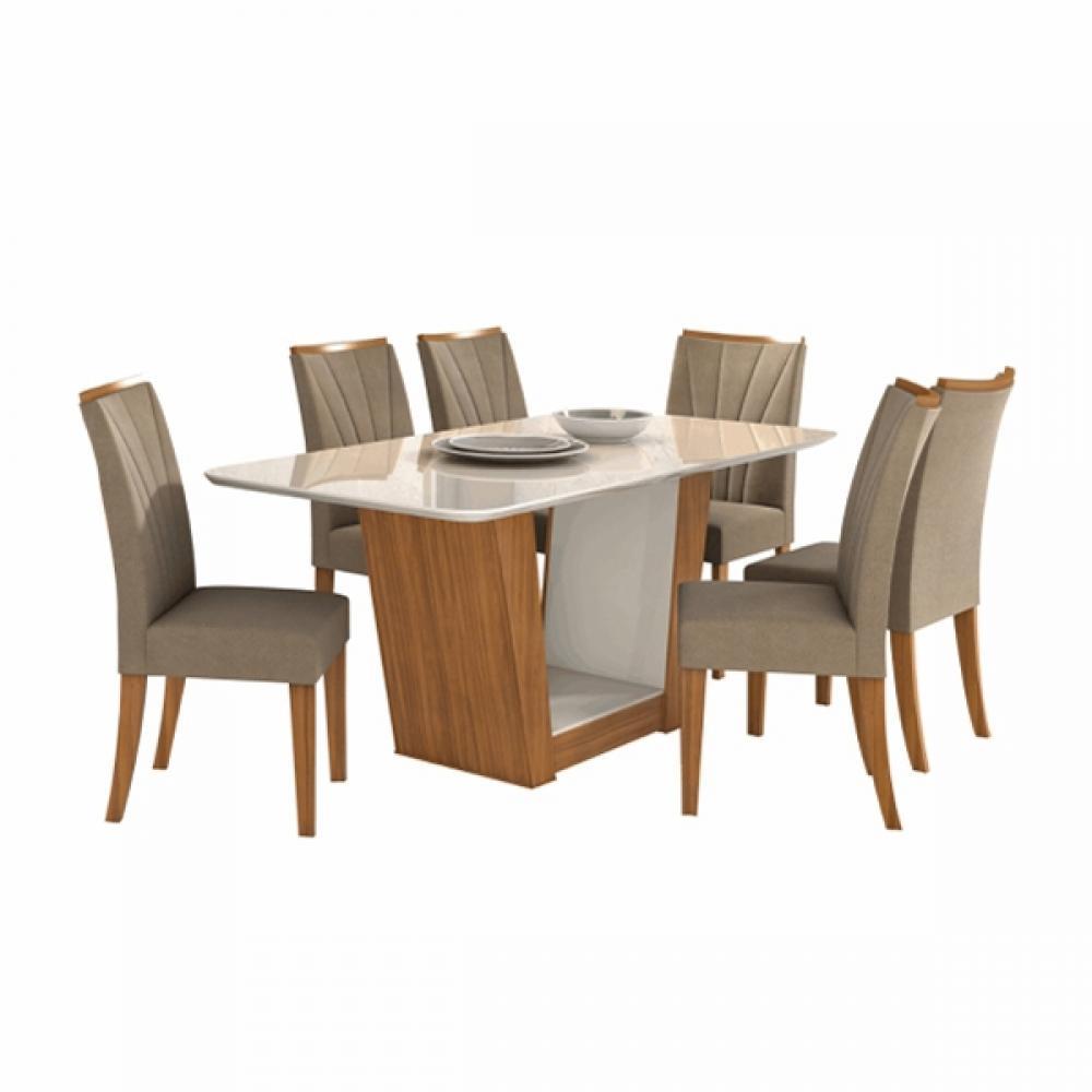Mesa De Jantar Apogeu 6 Cadeiras Estofadas Apogeu Tampo de Vidro Off White