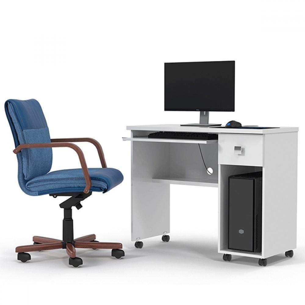 Mesa Escrivaninha Computador Vicenza 1 Gaveta Branca