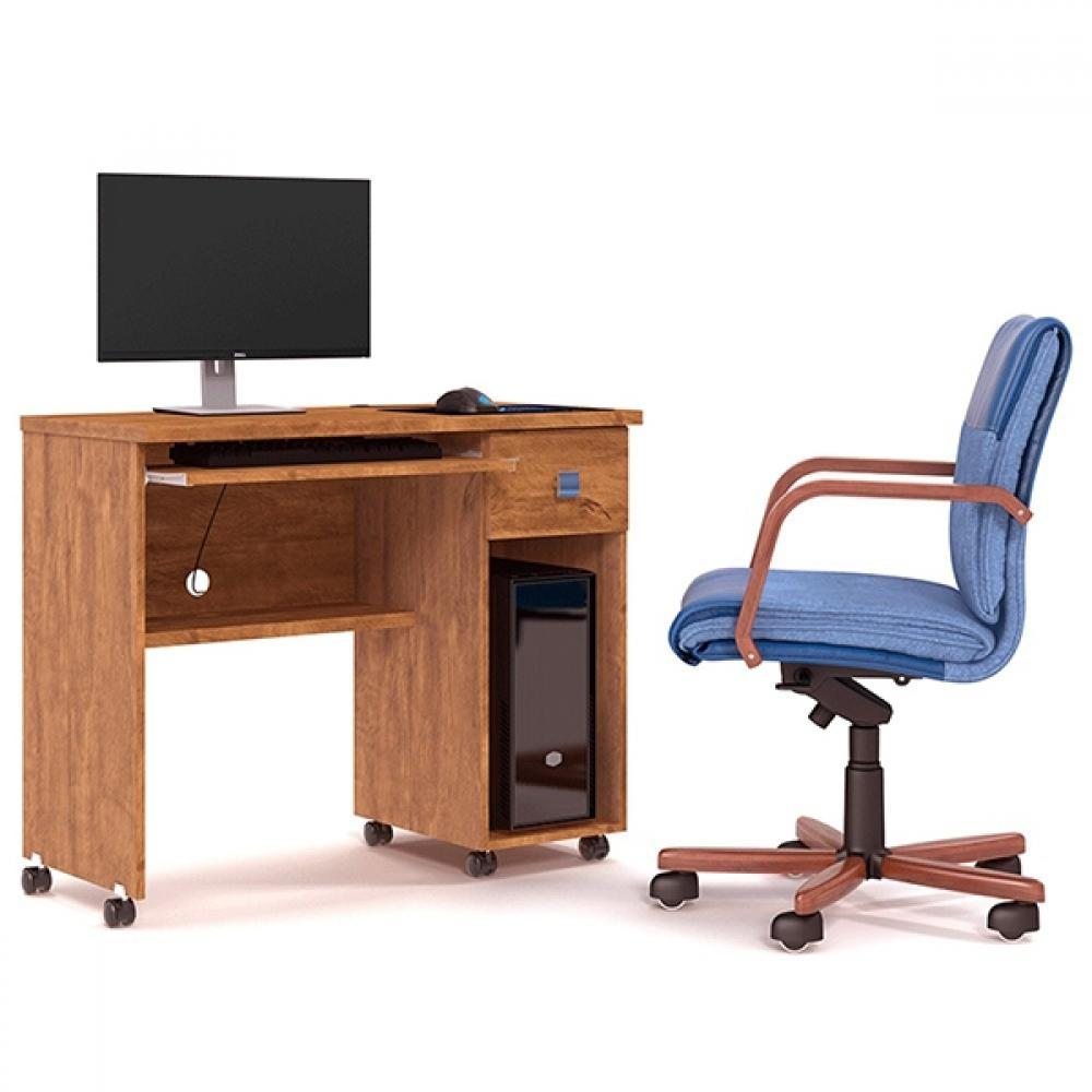 Mesa Escrivaninha Computador Vicenza 1 Gaveta Amêndoa