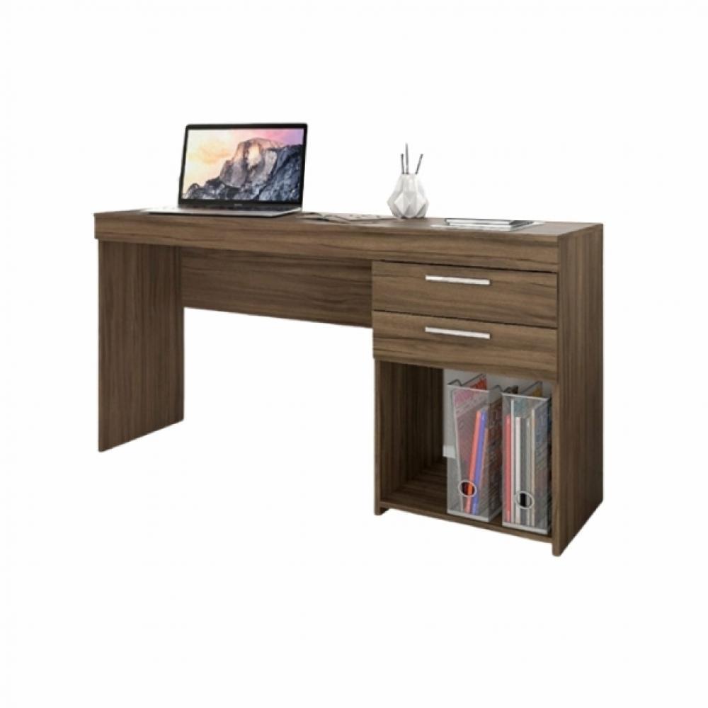 Escrivaninha Mesa Para Computador 2 Gavetas Office Nogal
