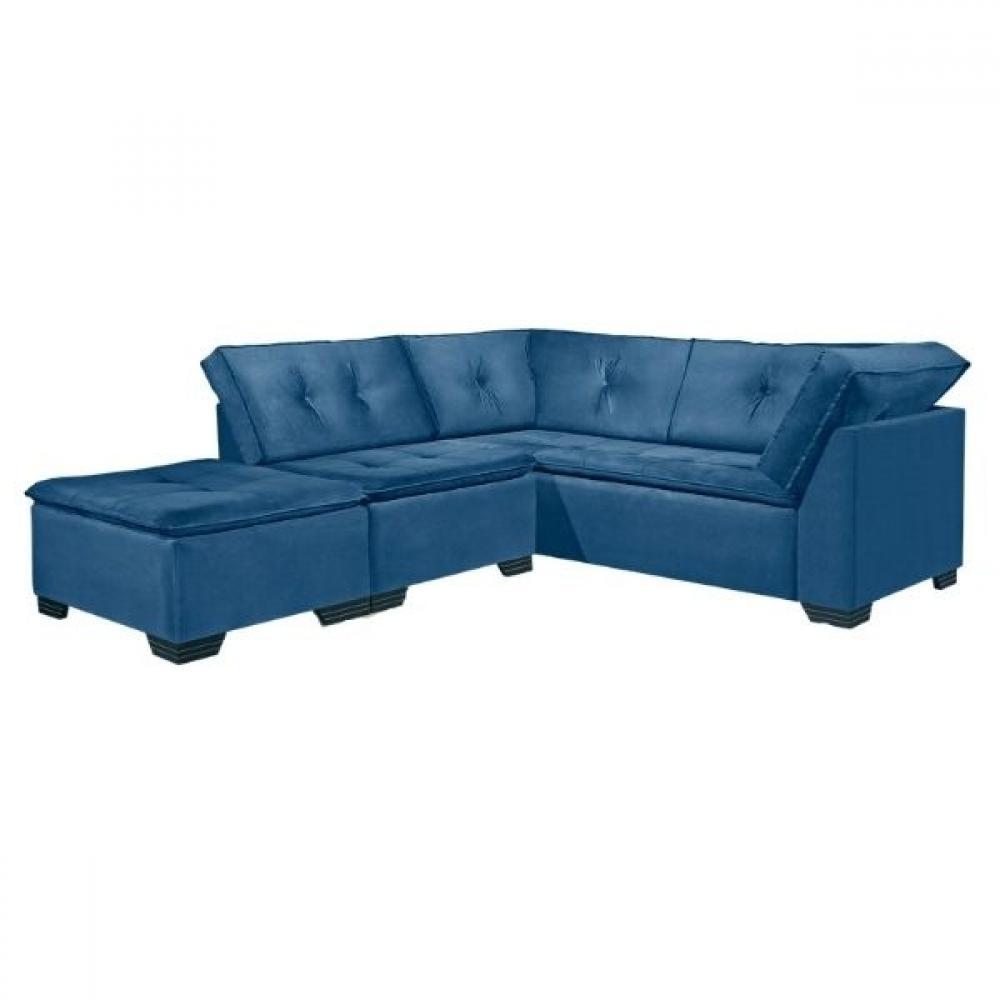 Conjunto Sofá 3 e 2 Lugares com Puff Versátil Veludo Azul